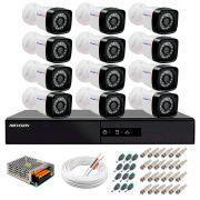 Kit 12 Câmeras + DVR Hikvision + App de Monitoramento, Câmeras Full HD 1080 Lite 25m Infravermelho de Visão Noturna Tudo Forte Completo com Acessórios
