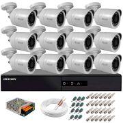 Kit 12 Câmeras + DVR Hikvision + Fonte, Cabos e Acessórios - Câmeras Hilook THC B120C-P Full HD 1080 Lite 20m Infra e Visão Noturna