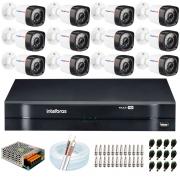 Kit 12 Câmeras HD 720p 20m Infravermelho de Visão Noturna + DVR Intelbras + App Grátis de Monitoramento + Fonte, Cabos e Acessórios