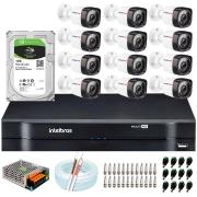 Kit 12 Câmeras HD 720p 20m Infravermelho de Visão Noturna + DVR Intelbras + HD 1 TB + App Grátis de Monitoramento + Fonte, Cabos e Acessórios