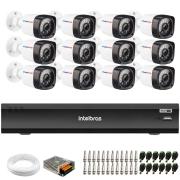 Kit 12 Câmeras Full HD 1080p 20m Infravermelho de Visão Noturna + DVR iMHDX 3016 Intelbras + App Grátis de Monitoramento + Fonte, Cabos e Acessórios