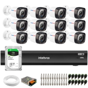 Kit 12 Câmeras Full HD 1080p 20m Infravermelho de Visão Noturna + DVR iMHDX 3016 Intelbras + HD 1 TB + App Grátis de Monitoramento + Fonte, Cabos e Acessórios