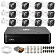 Kit 12 Câmeras Full Hd 1080p + Dvr Giga Security + App Grátis de Monitoramento, Câmeras 20m Infravermelho de Visão Noturna + Hd + Fonte, Cabos e Acessórios