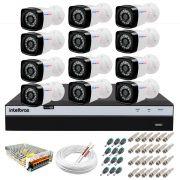 Kit 12 Câmeras + DVR Intelbras + App Grátis de Monitoramento, Câmeras Full HD 1080p 20m Infravermelho de Visão Noturna + Fonte, Cabos e Acessórios
