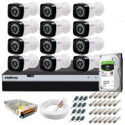Kit 12 Câmeras + DVR Intelbras + HD 1 TB + App de Monitoramento, Câmeras Full HD 1080p 20m Infravermelho de Visão Noturna + Fonte, Cabos e Acessórios