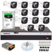 Kit 12 Câmeras Full HD 1080p 20m Infravermelho de Visão Noturna + DVR Intelbras + HD 1 TB + App Grátis de Monitoramento + Fonte, Cabos e Acessórios