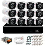 Kit 12 Câmeras HD 720p + DVR Giga Security + App Grátis de Monitoramento, Câmeras 20m Infravermelho de Visão Noturna + Fonte, Cabos e Acessórios