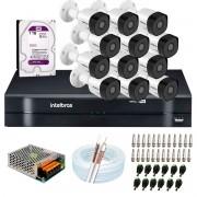 Kit 12 Câmeras Intelbras VHD 3230 B  G6 Full HD 1080 Lite + DVR Intelbras + Acessórios Completo - Câmeras com 30m Infravermelho de Visão Noturna
