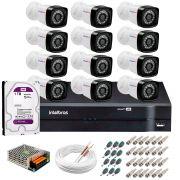 Kit 12 Câmeras Tudo Forte Full HD 1080 Lite + DVR Intelbras + Acessórios Completo - Câmeras com 25m Infravermelho de Visão Noturna