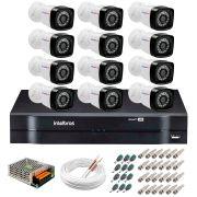 Kit 12 Câmeras Tudo Forte Full HD 1080 Lite + DVR Intelbras - Câmeras com 25m Infravermelho de Visão Noturna + Fonte, Cabos e Acessórios