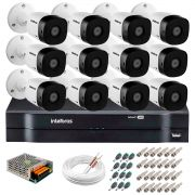 Kit 12 Câmeras VHD 1010 B G5 + DVR Intelbras + App Grátis, HD 720p 10m Infravermelho + Cabos e Acessórios