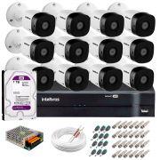 Kit 12 Câmeras VHD 1010 B G5 + DVR Intelbras + HD 1TB para Armazenamento + App Grátis de Monitoramento, Câmeras HD 720p 10m Infravermelho de Visão Noturna Intelbras + Fonte, Cabos e Acessórios