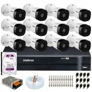 Kit 12 Câmeras VHD 1010 B G6  10m Infravermelho de Visão Noturna + DVR Intelbras + HD 1TB + Acessórios