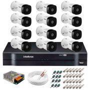 Kit 12 Câmeras VHD 1120 B G5 + DVR Intelbras + App Grátis de Monitoramento, HD 720p 20m Infravermelho + Cabos e Acessórios