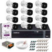 Kit 12 Câmeras VHD 1120 B G5 + DVR Intelbras + HD 1TB + App Grátis de Monitoramento, HD 720p 20m Infravermelho + Cabos e Acessórios