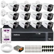 Kit 12 Câmeras VHD 1120 B G6 + DVR Intelbras + HD 1TB + App + Fonte, Cabos e Acessórios
