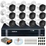 Kit 12 Câmeras VHD 3120 B G6 + DVR Intelbras + App Grátis de Monitoramento, HD 720p 20m Infravermelho + Cabos e Acessórios