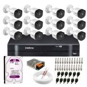 Kit 12 Câmeras VHD 3130 B G6 + DVR Intelbras + HD 3TB para Armazenamento + App Grátis de Monitoramento, Câmeras HD 720p 30m Infravermelho de Visão Noturna Intelbras + Fonte, Cabos e Acessórios