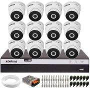 Kit 12 Câmeras VHD 3220 Full HD 1080p + DVR Intelbras MHDX 3116 + App Grátis de Monitoramento, 20m Infravermelho de Visão Noturna + Fonte, Cabos e Acessórios