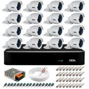 Kit 16 Câmeras  5MP + DVR Giga +  App de Monitoramento, Câmeras 30m Infravermelho de Visão Noturna Giga Security GS0047 Completo com Acessórios
