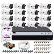 Kit 16 Câmeras de Segurança 4MP 2k Intelbras VHD 3430 B + DVR Intelbras 4K + HD 1TB + Acessórios