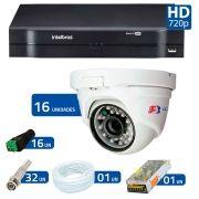 Kit 16 Câmeras de Segurança Dome HD 720p Focusbras + DVR Intelbras Multi HD + Acessórios