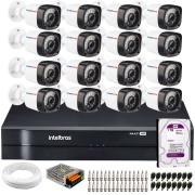 Kit 16 Câmeras de Segurança Full HD 1080p Lite 20 Metros Infravermelho + DVR Intelbras + HD + Cabos e Acessórios