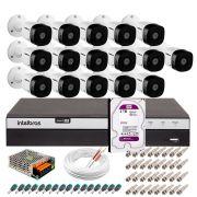 Kit 16 Câmeras de Segurança Full HD 1080p VHD 1220B IR + DVR Intelbras Full HD + HD WD Purple 2TB + Acessórios