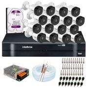 Kit 16 Câmeras de Segurança Full HD 1080p VHD 3230 B G6 + DVR Intelbras MHDX 1116 1080p de 16 Canais + Acessórios