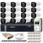Kit 16 Câmeras + DVR Intelbras + HD 1 TB + App de Monitoramento, Câmeras HD 720p 20m Infravermelho de Visão Noturna + Fonte, Cabos e Acessórios
