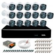 Kit 16 Câmeras de Segurança HD 720p Giga Security GS0018  + DVR Giga Security Multi HD + Acessórios