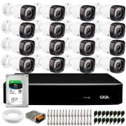 Kit 16 Câmeras de Segurança HD 720p Giga Security GS0020 + DVR Giga Security  + HD 1TB + Acessórios