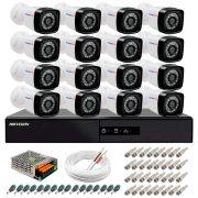 Kit 16 Câmeras + DVR Hikvision + App de Monitoramento, Câmeras Full HD 1080 Lite 25m Infravermelho de Visão Noturna Tudo Forte Completo com Acessórios