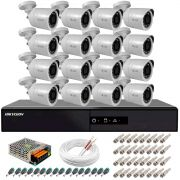 Kit 16 Câmeras + DVR Hikvision + Fonte, Cabos e Acessórios - Câmeras Hilook THC B120C-P Full HD 1080 Lite 20m Infra e Visão Noturna