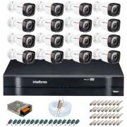 Kit 16 Câmeras HD 720p 20m Infravermelho de Visão Noturna + DVR Intelbras + App Grátis de Monitoramento + Fonte, Cabos e Acessórios