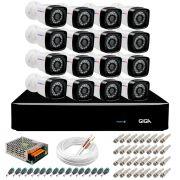 Kit 16 Câmeras Full HD 1080p + DVR Giga Security + App Grátis de Monitoramento, Câmeras 20m Infravermelho de Visão Noturna + Fonte, Cabos e Acessórios