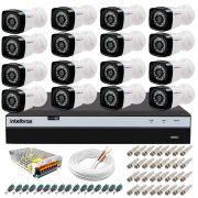 Kit 16 Câmeras + DVR Intelbras + App Grátis de Monitoramento, Câmeras Full HD 1080p 20m Infravermelho de Visão Noturna + Fonte, Cabos e Acessórios
