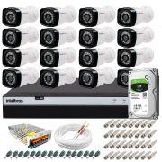 Kit 16 Câmeras + DVR Intelbras + HD 1 TB + App de Monitoramento, Câmeras Full HD 1080p 20m Infravermelho de Visão Noturna + Fonte, Cabos e Acessórios