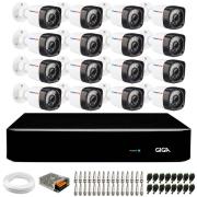 Kit 16 Câmeras Full HD 1080p Full HD  + DVR Giga Security + Hd + App Grátis de Monitoramento, Câmeras 20m Infravermelho de Visão Noturna + Fonte, Cabos e Acessórios
