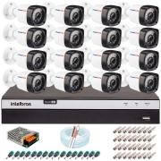 Kit 16 Câmeras Full HD 1080p 20m Infravermelho de Visão Noturna + DVR Intelbras + App Grátis de Monitoramento + Fonte, Cabos e Acessórios