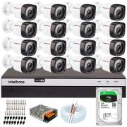 Kit 16 Câmeras Full HD 1080p 20m Infravermelho de Visão Noturna + DVR Intelbras + HD 1 TB + App Grátis de Monitoramento + Fonte, Cabos e Acessórios