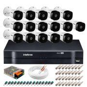 Kit 16 Câmeras Intelbras VHD 1220 B Full HD 1080 Lite + DVR Intelbras - Câmeras com 20m Infravermelho de Visão Noturna + Fonte, Cabos e Acessórios