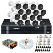 Kit 16 Câmeras Intelbras VHD 3230 B G6 Full HD 1080 Lite + DVR Intelbras - Câmeras com 30m Infravermelho de Visão Noturna + Fonte, Cabos e Acessórios