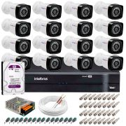 Kit 16 Câmeras Tudo Forte Full HD 1080 Lite + DVR Intelbras + Acessórios Completo - Câmeras com 25m Infravermelho de Visão Noturna
