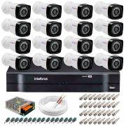 Kit 16 Câmeras Tudo Forte Full HD 1080 Lite + DVR Intelbras - Câmeras com 25m Infravermelho de Visão Noturna + Fonte, Cabos e Acessórios