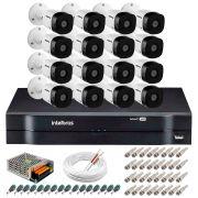 Kit 16 Câmeras VHD 1010 B G5 + DVR Intelbras + App Grátis de Monitoramento, Câmeras HD 720p 10m Infravermelho de Visão Noturna Intelbras + Fonte, Cabos e Acessórios