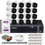 Kit 16 Câmeras VHD 1010 B G5 + DVR Intelbras + HD 1TB + App Grátis, HD 720p 10m Infravermelho + Cabos e Acessórios