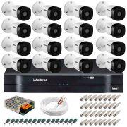 Kit 16 Câmeras VHD 1120 B G5 + DVR Intelbras + App Grátis de Monitoramento, Câmeras HD 720p 20m Infravermelho de Visão Noturna Intelbras + Fonte, Cabos e Acessórios