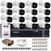Kit 16 Câmeras VHD 1120 B G5 + DVR Intelbras + HD 1TB para + App Grátis de Monitoramento, HD 720p 20m Infravermelho + Cabos e Acessórios