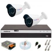 Kit 2 Câmera Bullet Híbrida 4 Em 1 Infravermelho 2k Tudo Forte 3,6mm 5MP + DVR  Intelbras 3104 + App Grátis de Monitoramento